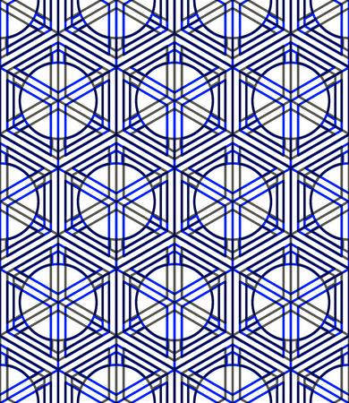 pellucid: Seamless optical ornamental pattern with three-dimensional geometric figures