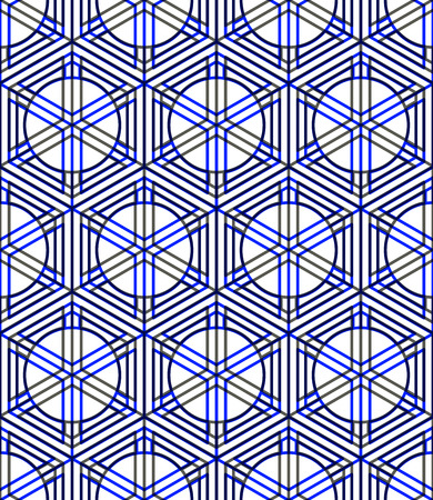 Seamless optical ornamental pattern with three-dimensional geometric figures