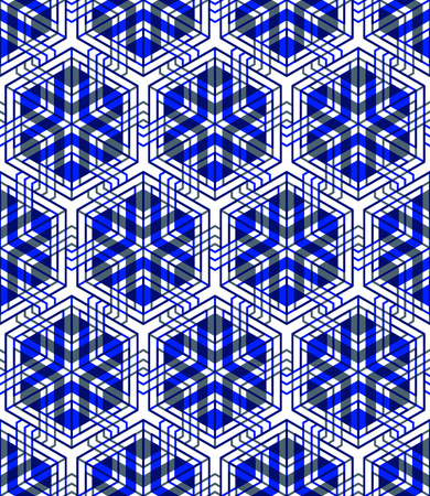 superimpose: Seamless optical ornamental pattern with three-dimensional geometric figures