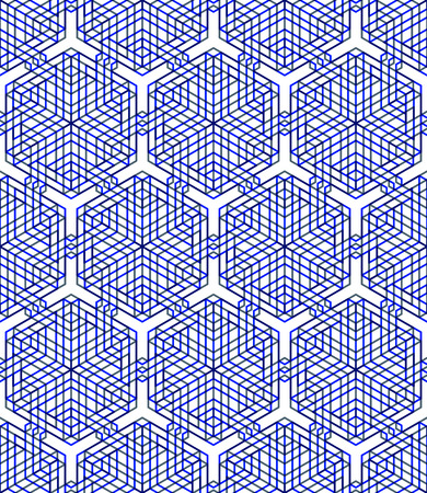 Regular colorful endless pattern with intertwine three-dimensional figures Illustration