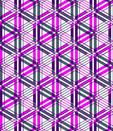 Bright illusory abstract geometric seamless pattern with 3d geometric figures