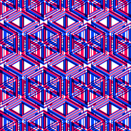 Illusive continuous colorful pattern, decorative abstract background with 3d geometric figures