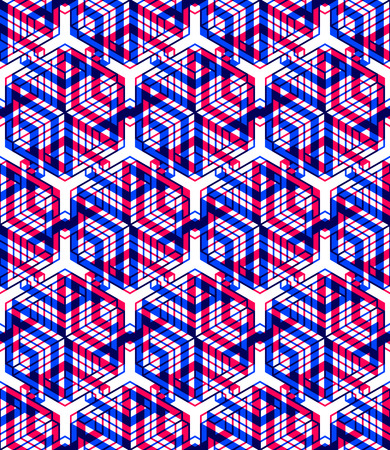 illusion: Colorful illusive abstract geometric seamless 3d pattern with transparency effects