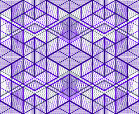 intertwine: Illusive continuous colorful pattern, decorative abstract background with 3d geometric figures