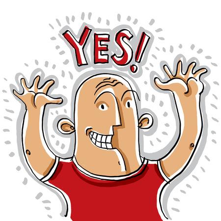persona feliz: Ilustración de la persona sonriente feliz subiendo las manos en alto Vectores