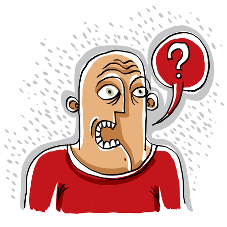 human being: Illustration of a man talking. Question mark with a speech bubble.