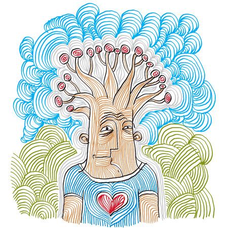 albero da frutto: Immagine disegnata a mano di un essere umano con alberi da frutto simbolico come metafora pensatore.