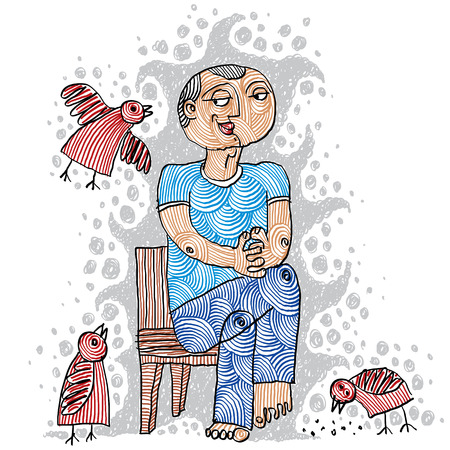 charismatic: Illustration of a kind person sitting on a chair and feeding birds. Hand-drawn.