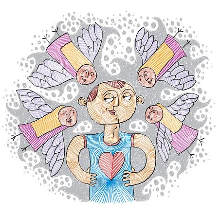 magnetismo: Magnetismo idea semplice illustrazione, disegnato a mano. Persona carismatica. Vettoriali