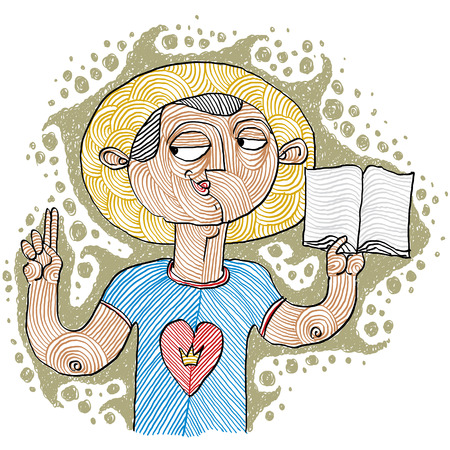 Hand-drawn illustration of believer, Bible character
