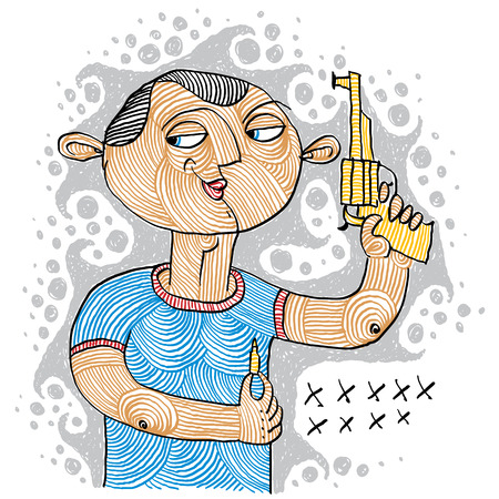 Illustration of a serial killer holding a gun and ammunition for it Illustration