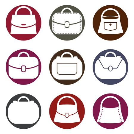 bursa: Bag vector icons set, fashion theme symbols collection.