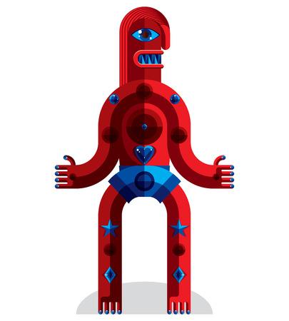 cubismo: ilustraci�n de avatar modernista bizarro, imagen tema cubismo. Dibujo colorido de t�tem espiritual, fant�stica cham�n aislado en blanco. Vectores