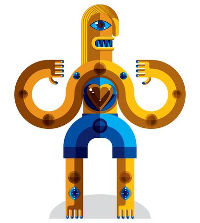 cubismo: Colorida ilustración de estilo modernista hecha de figuras geométricas. Imagen Diseño plano de una criatura mítica, tema cubismo.