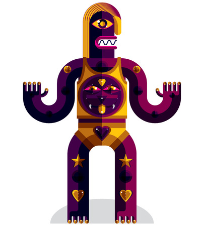 weird: Graphic illustration of weird beast, anthropomorphic character isolated on white, decorative modern avatar made from geometric figures.