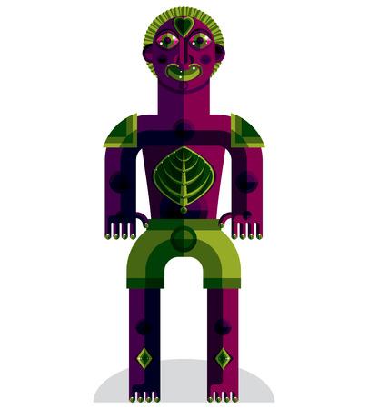 albero della vita: Avanguardia avatar, disegno colorato creato in stile cubista. Modernistic ritratto geometrico, illustrazione di idolo Vettoriali