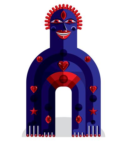 karma graphics: Modernistic illustration, geometric cubism style avatar isolated on white background. Strange character image made in flat design. Illustration