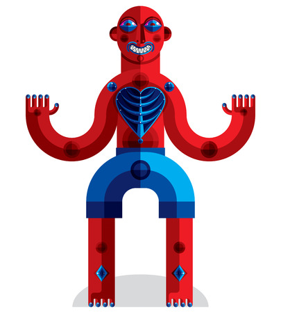 idol: Meditation theme illustration, drawing of a creepy creature made in modernistic style. Spiritual idol created in cubism style.
