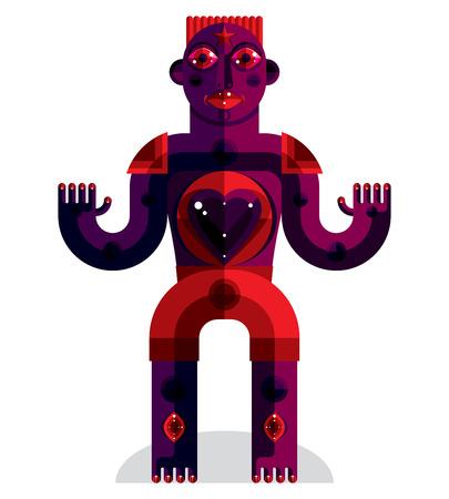cubismo: Ilustración criatura Raro, cubismo foto gráfico moderno. Imagen Diseño plano de un carácter extraño aislado en blanco.