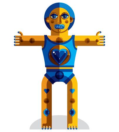 cubismo: Ilustración gráfica, carácter antropomórfico aislado en blanco avatar moderno, decorativo hecho en estilo del cubismo. Vectores