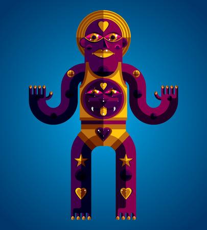 pagan: avant-gardiste illustration de personne mythique, symbole pa�en. Image graphique moderniste, le caract�re anthropomorphique isol�.