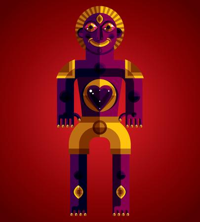 modernistic: Cubism theme graphic illustration, modernistic symbol. Geometric cartoon character, mythic creature or shaman Illustration