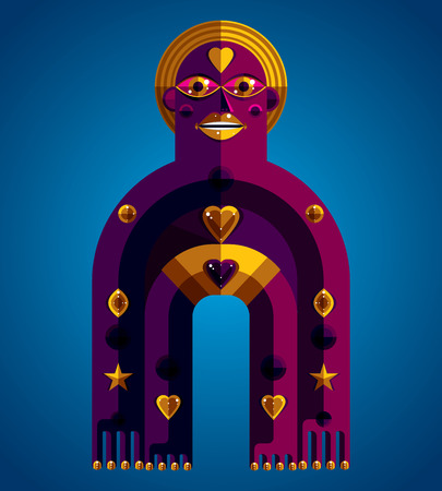 anthropomorphic: Spiritual totem illustration, meditation theme drawing. Anthropomorphic character, mystic idol isolated on decorative background.