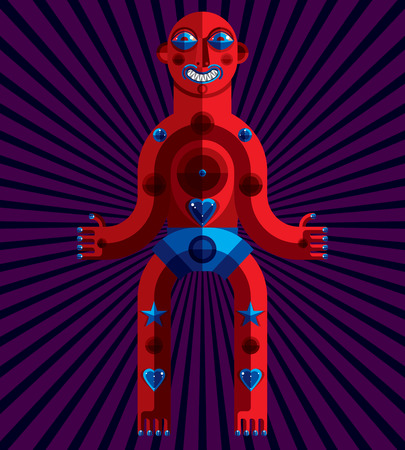 mythic: avant-garde illustration of mythic person, pagan symbol.  Modernistic graphic picture, anthropomorphic character isolated.