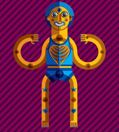 cubismo: Ilustración del tema de meditación, dibujo de una criatura espeluznante en estilo modernista. Ídolo espiritual creado en estilo del cubismo.