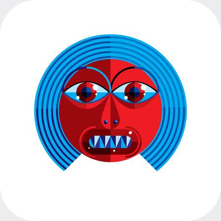 cubismo: ilustración de avatar modernista bizarro, imagen tema cubismo. Expresión de la cara de una persona. Vectores
