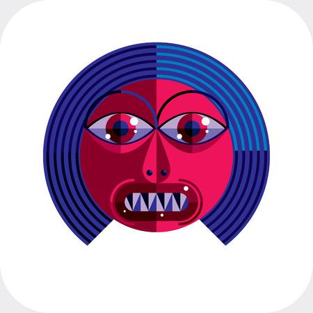 cubismo: Cara de la personalidad colorida ilustración hecha de figuras geométricas. Imagen Diseño plano, estilo del cubismo.