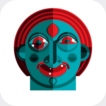 modernistic: illustration of bizarre modernistic avatar, cubism theme picture. Expression on a persons face.