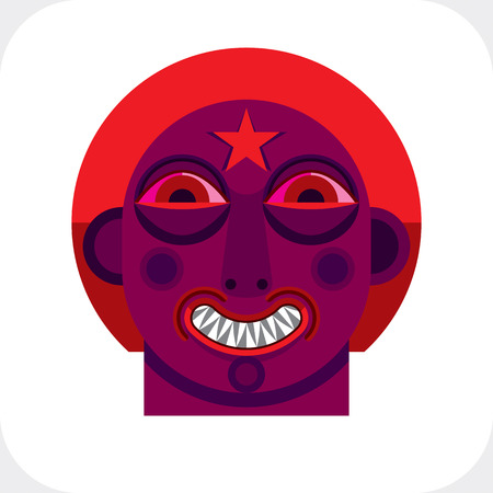 cubismo: Avant-garde avatar, cara personalidad creada en estilo del cubismo. Retrato geom�trica modernista, ilustraci�n multicolor de la expresi�n facial