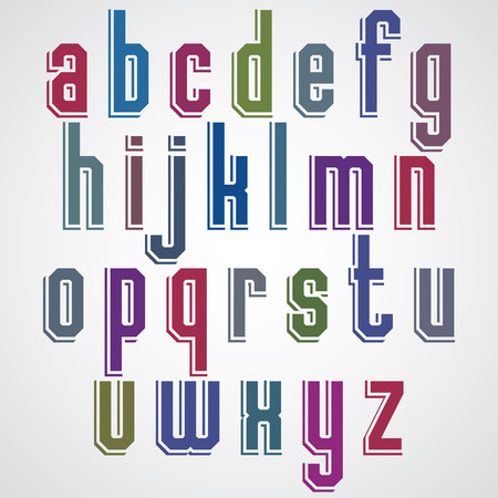 post scripts: Colorful decorative font, geometric lowercase letters with white outline.