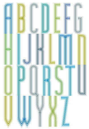 verb: Colorful geometric decorative splicing font, letters for greeting postcards.