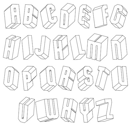 verbs: Geometric black and white 3d font made with thin lines Illustration