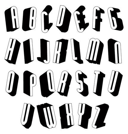 sans: Black and white 3d font, single color simple letters alphabet