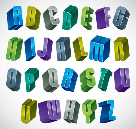 bold: 3d colorful letters geometric alphabet, dimensional bold font in blue gray and green colors