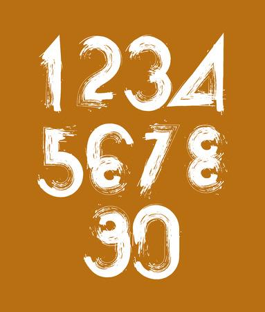 numerals: stylish brush digits, handwritten numerals Illustration