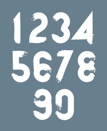 two stroke: White handwritten numbers, doodle brushed figures, hand-painted set of numbers with brushstrokes.