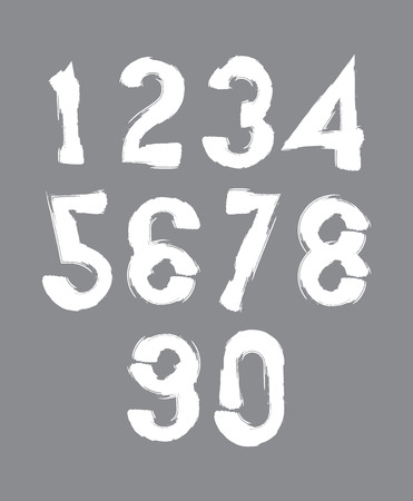 sans: Calligraphic numbers drawn with ink brush, white numbers collection.