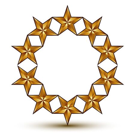 3d classic royal symbol, sophisticated golden round emblem with pentagonal stars isolated on white background