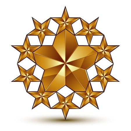 Glamorous template with pentagonal golden star symbol