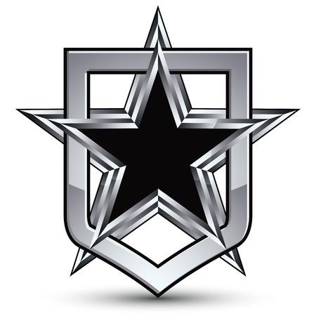 pentagonal: Celebrative silver emblem with black pentagonal star