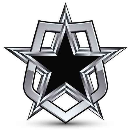 pentagonal: Celebrative silver emblem with black pentagonal star, 3d royal design element
