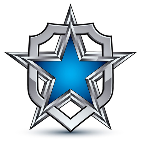 renown: Renown silver emblem with pentagonal star, 3d sophisticated design element
