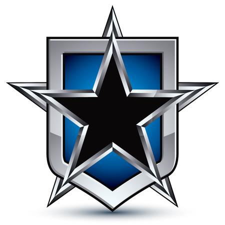 glistening: Celebrative silver emblem with black pentagonal star, 3d royal conceptual design element