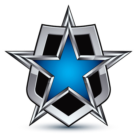 glisten: Celebrative emblem with silver outline and blue pentagonal star, 3d royal conceptual design element Illustration