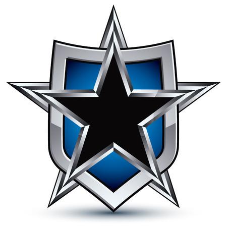 glisten: Celebrative emblem with silver outline and black pentagonal star, 3d royal conceptual design element Illustration