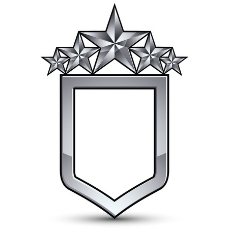 five stars: Festive emblem with silver outline and five pentagonal stars, 3d royal conceptual design element Illustration